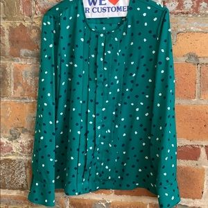 J. Crew green dotted blouse